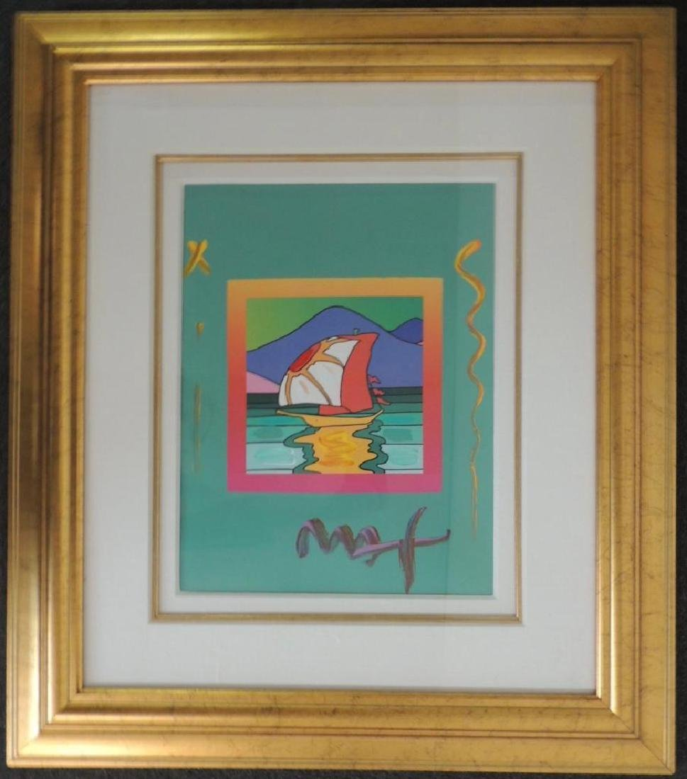 "Framed Peter Max    Mixed Media Art    ""Sailboat East"