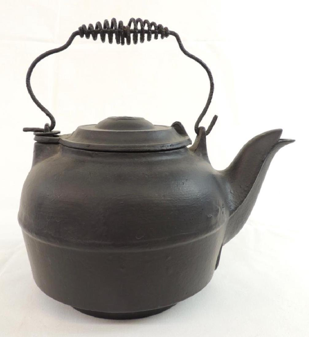 Large Cast Iron Kettle with Coil Handle