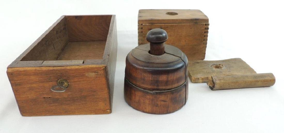 Group of Primitive Wood Kitchen Items