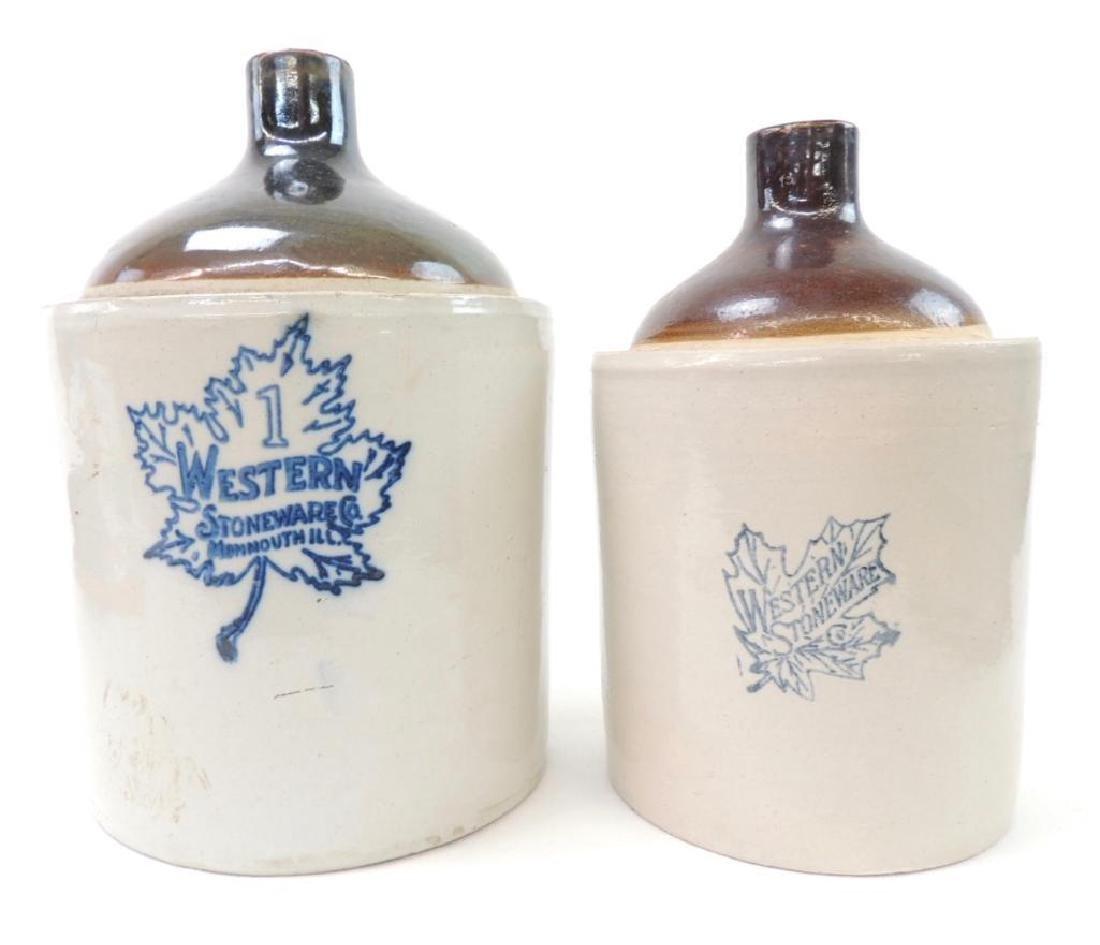2 Western Stoneware Crock Jugs