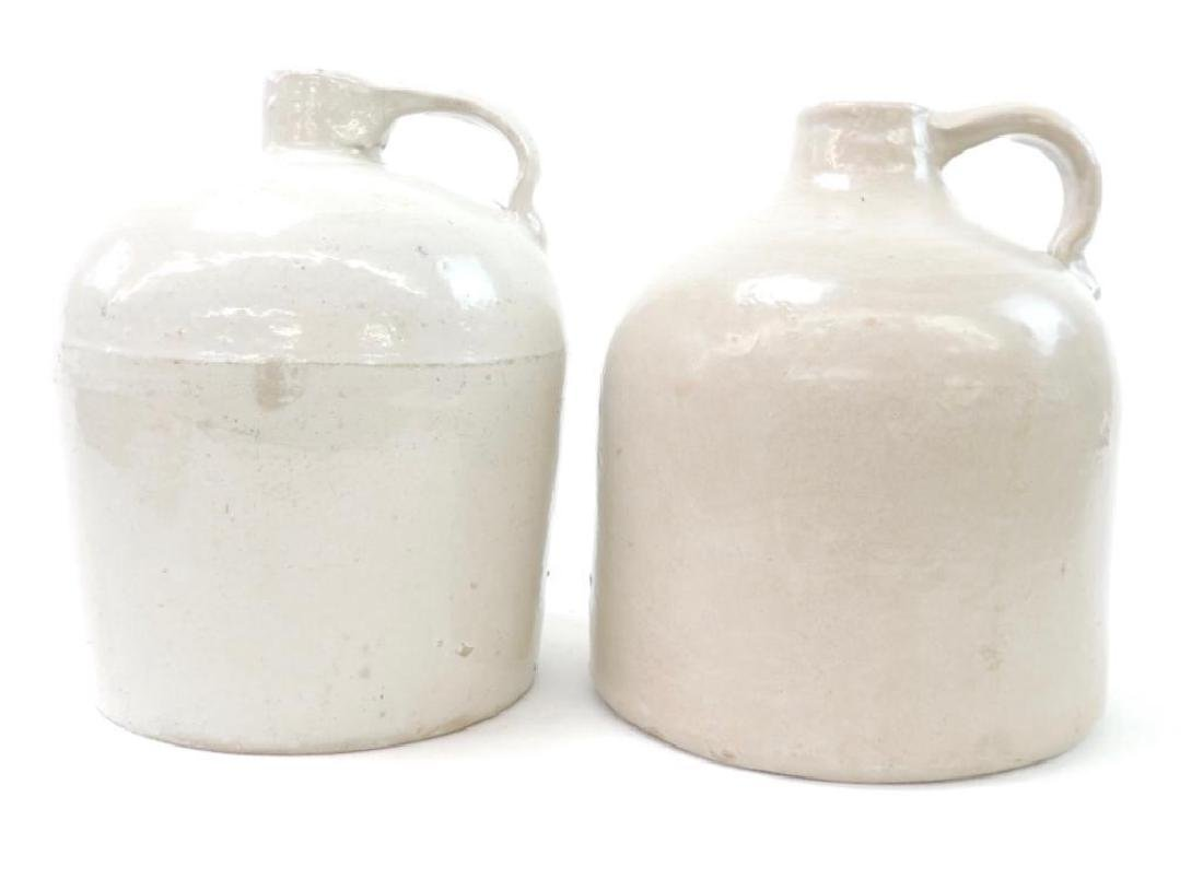 2 White Red Wing Pottery Crock Jugs