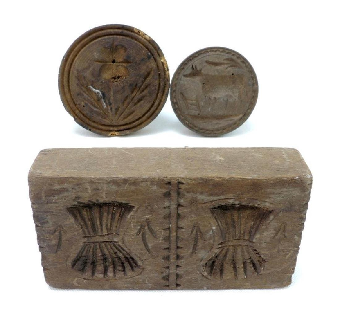 Group of 3 Antqiue Wood Butter Presses