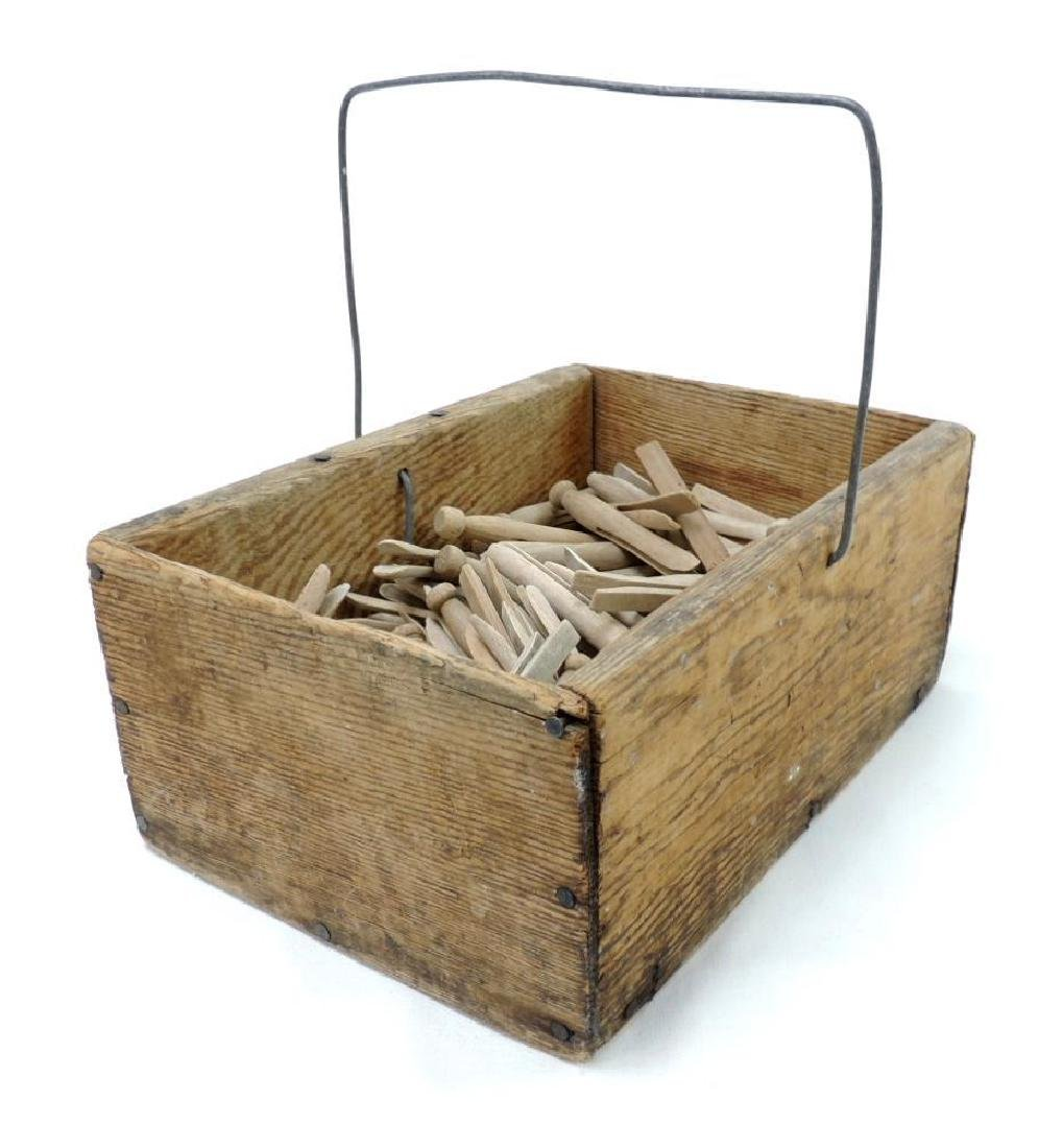 Primitive Wood Box with Wood Clothespins - 2