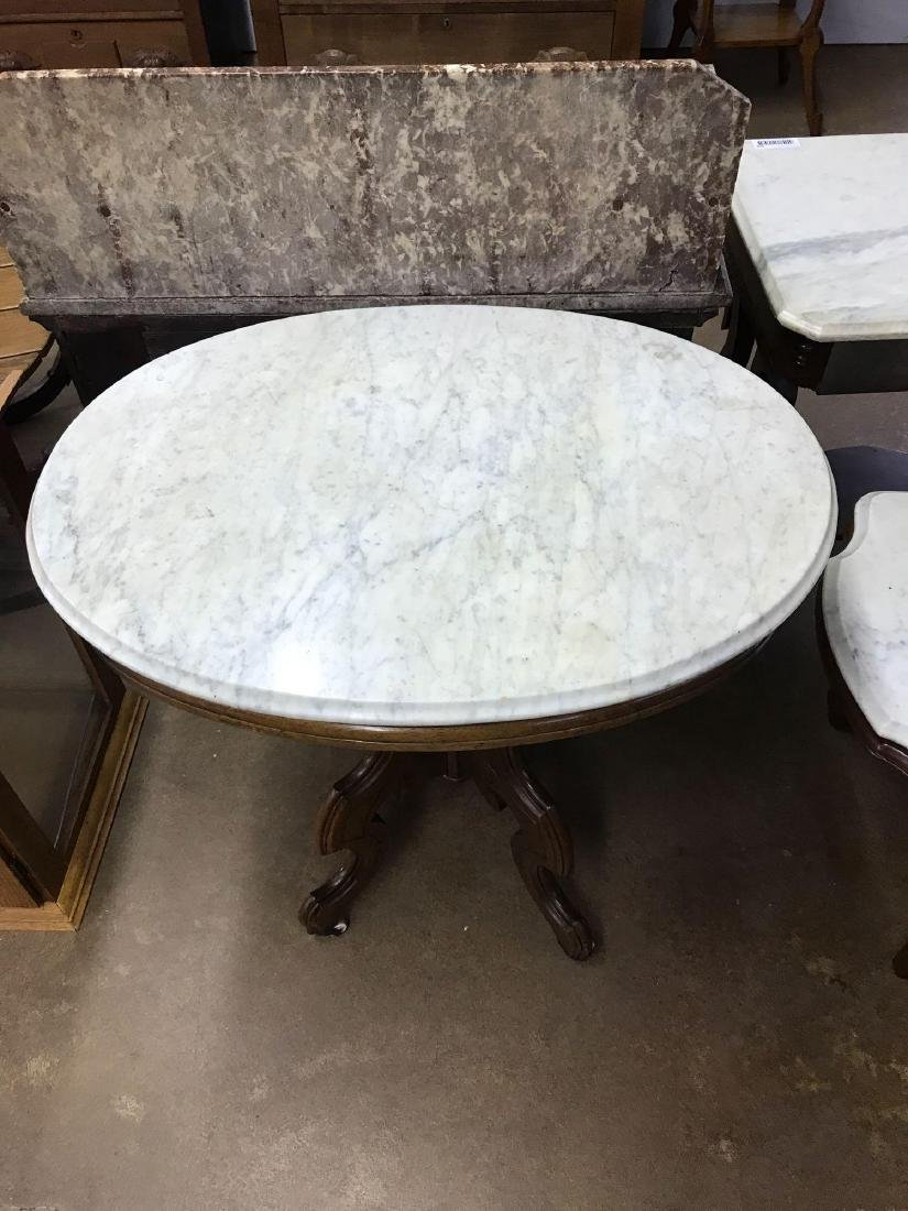 Antique marble top lamp table - 2