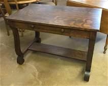 Antique quartersawn oak desk with drawer