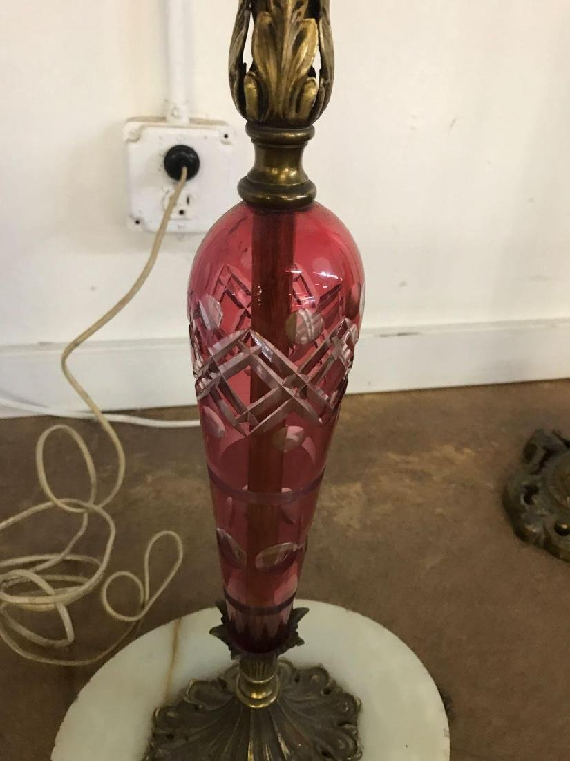 Antique clawfoot did cranberry flash and marble floor - 2