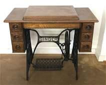 Antique Quartersawn oak Singer redeye sewing machine
