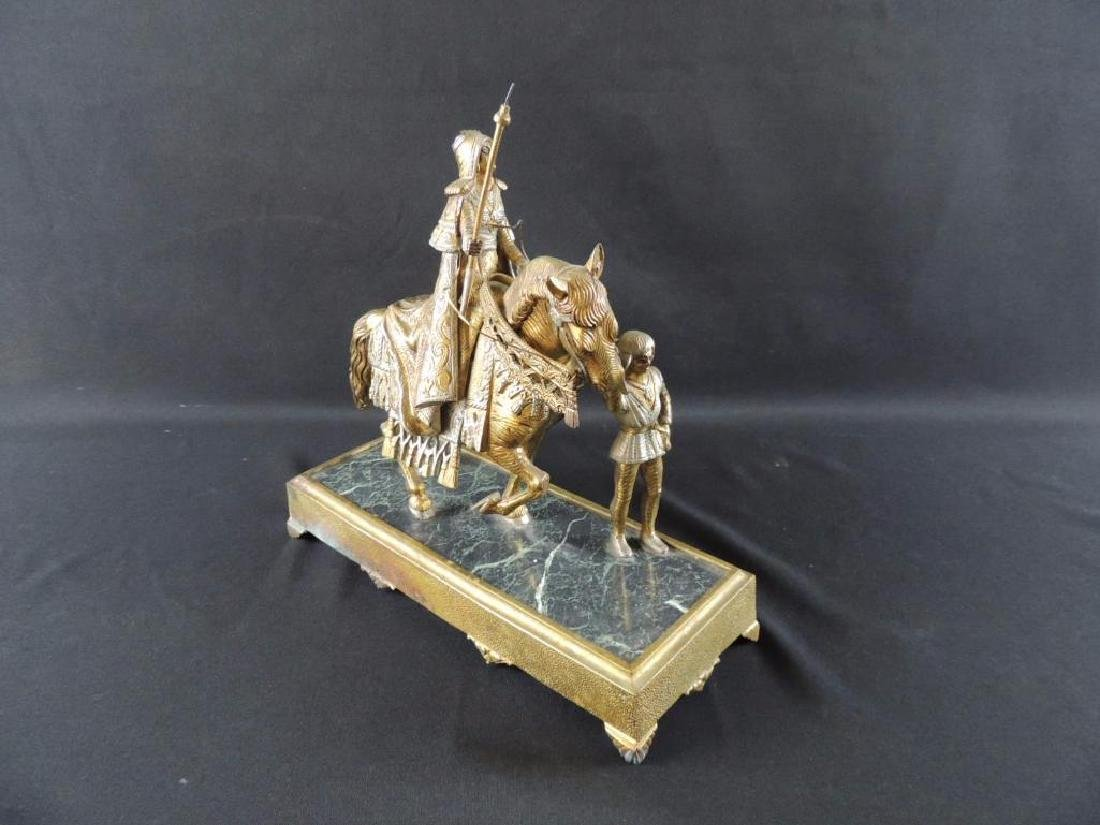 Antique Brass Statue Featuring Woman on Horse with Boy - 3