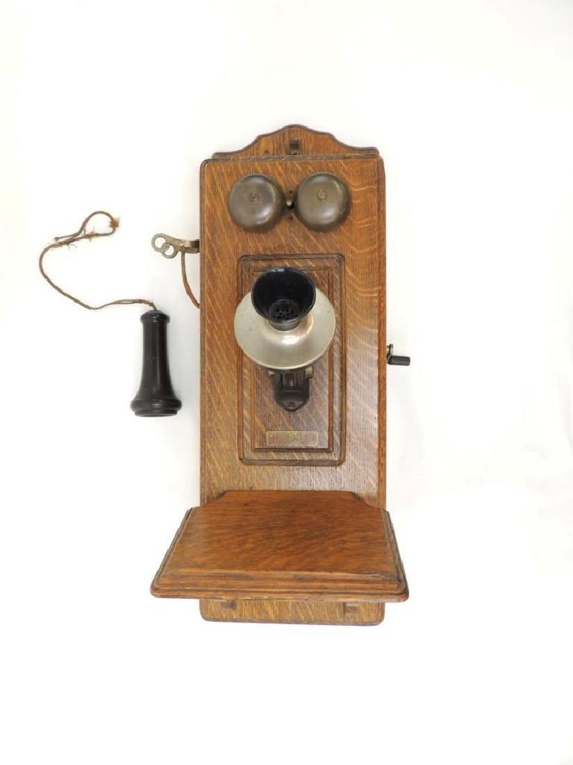 Antique Oak Hercules Wall Telephone