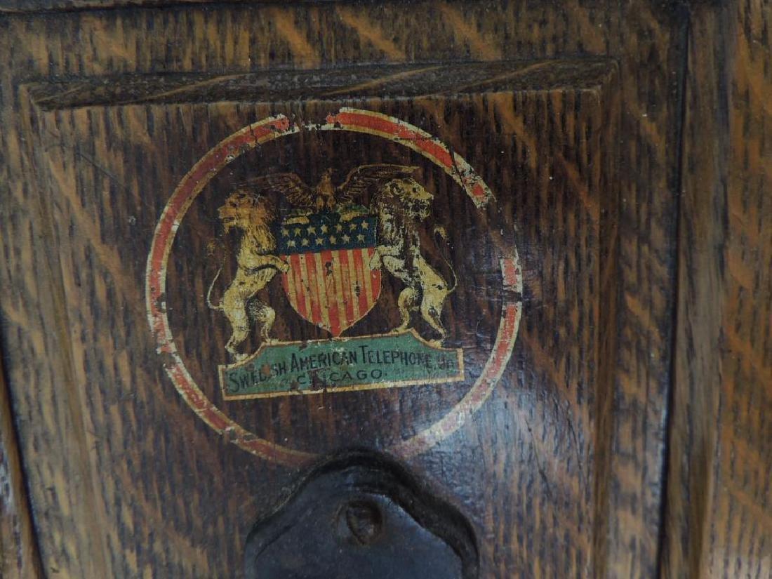 Antique Oak Hercules Wall Telephone - 3