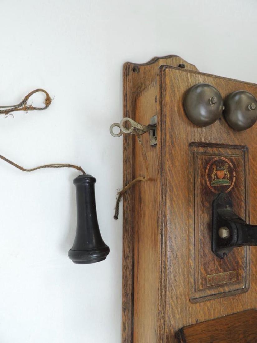 Antique Oak Hercules Wall Telephone - 4
