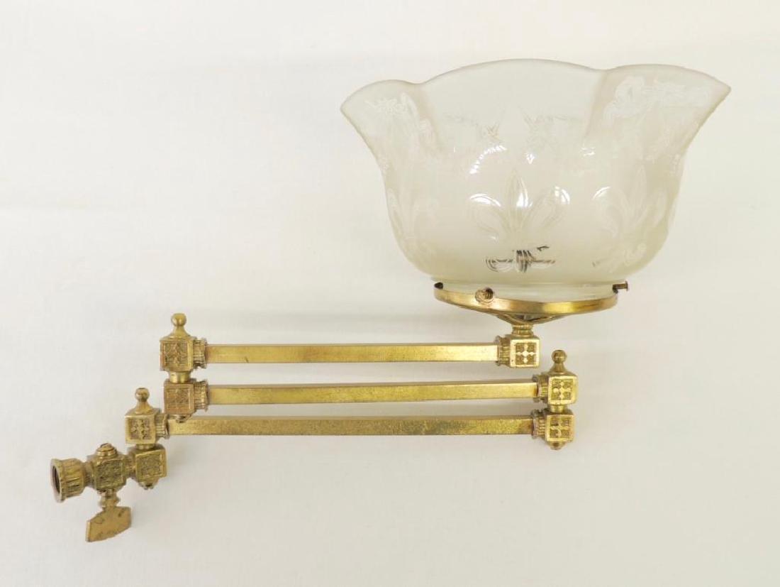 Antqiue Triple Arm Brass Telescoping Gas Light Fixture
