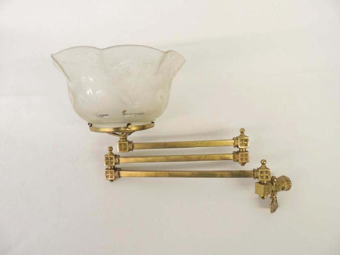 Antqiue Triple Arm Brass Telescoping Gas Light Fixture - 2