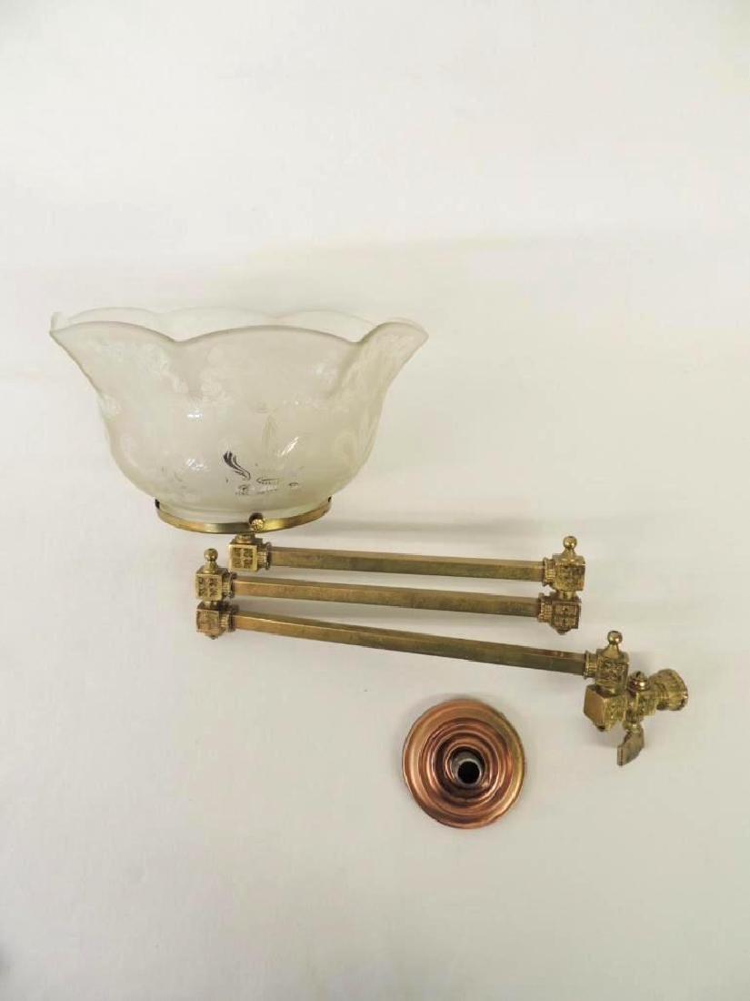 Antqiue Triple Arm Brass Telescoping Gas Light Fixture - 4