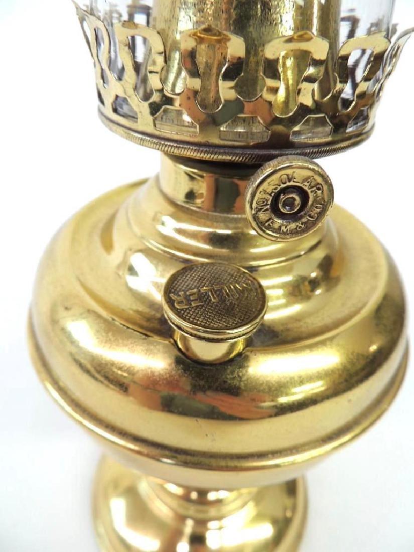 Antique Miller Brass Oil Lamp - 3