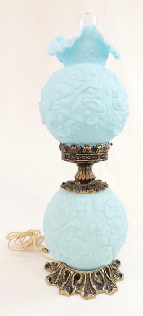 Vintage Fenton Blue Poppy Satin Glass GWTW Lamp