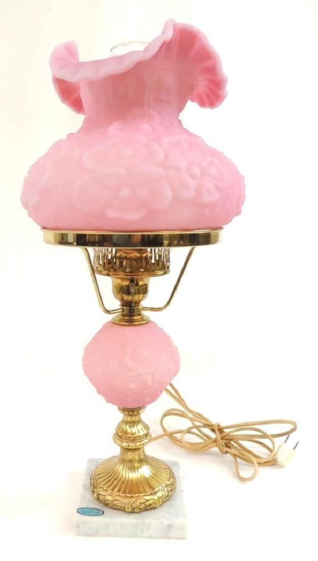Vintage Fenton Pink Poppy Satin Glass Lamp