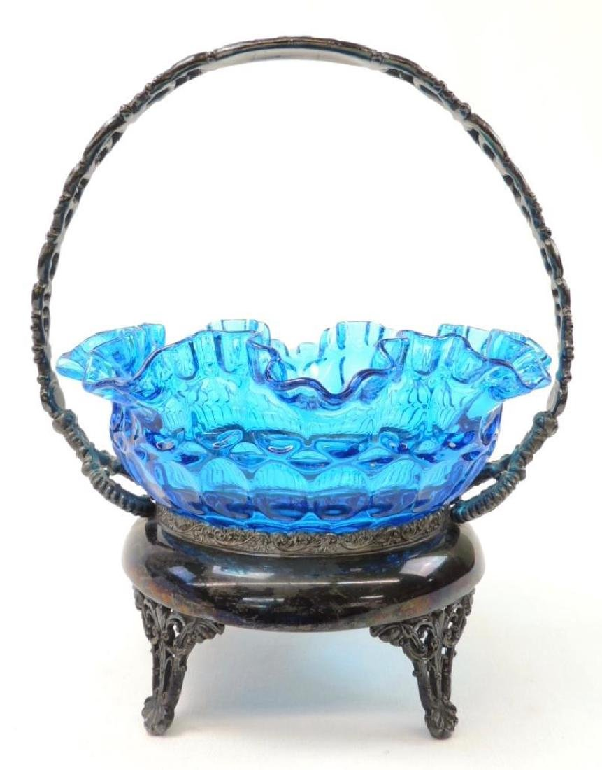Victorian Bride's Basket Ruffled Blue Glass Basket