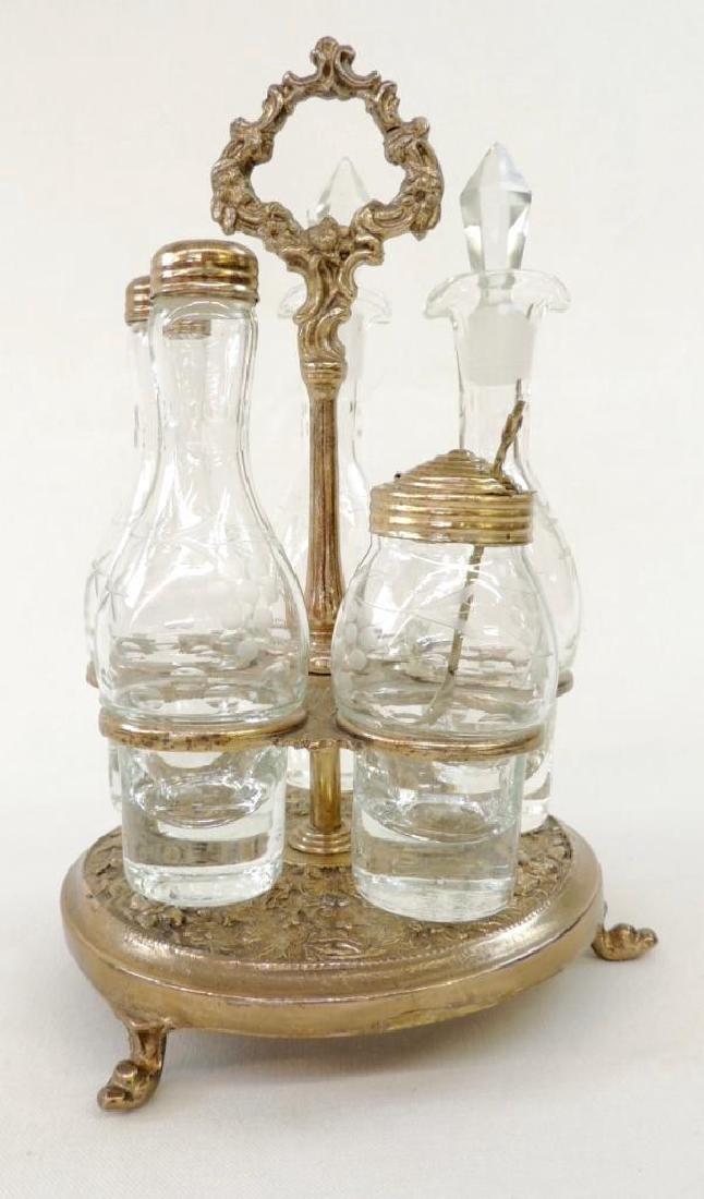 Victorian 5 Bottle Cut Glass Cruet Set