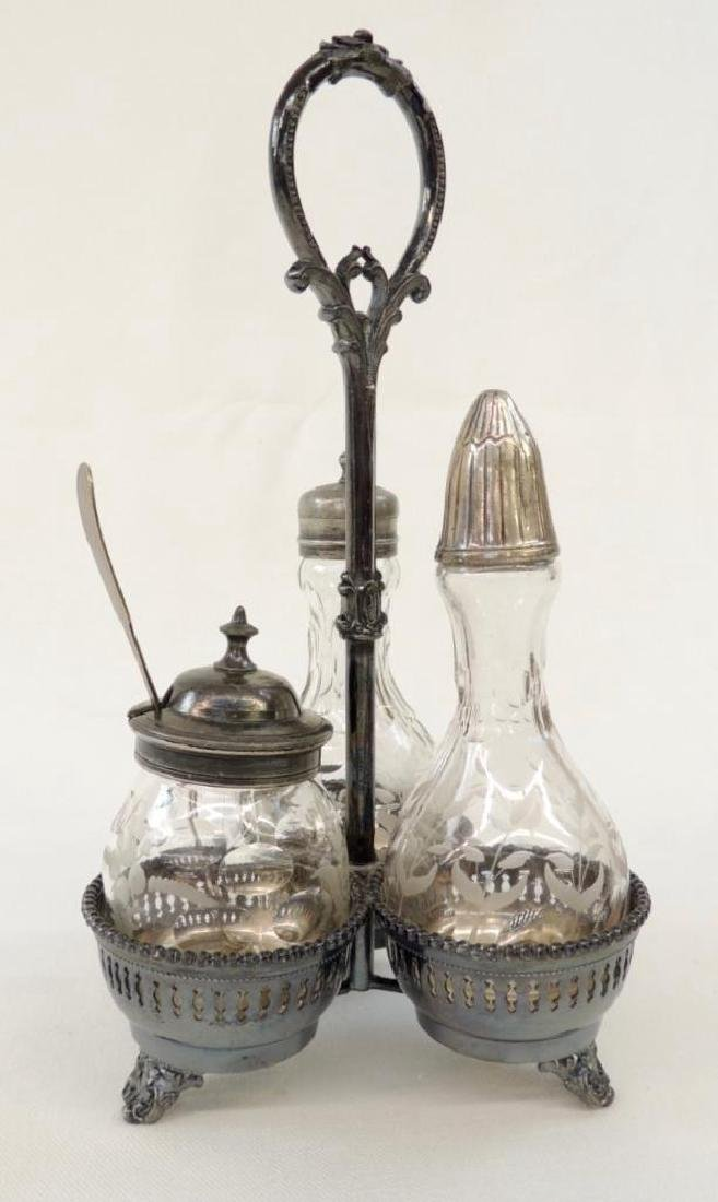 3 Bottle Cut Glass Silverplate Cruet Set