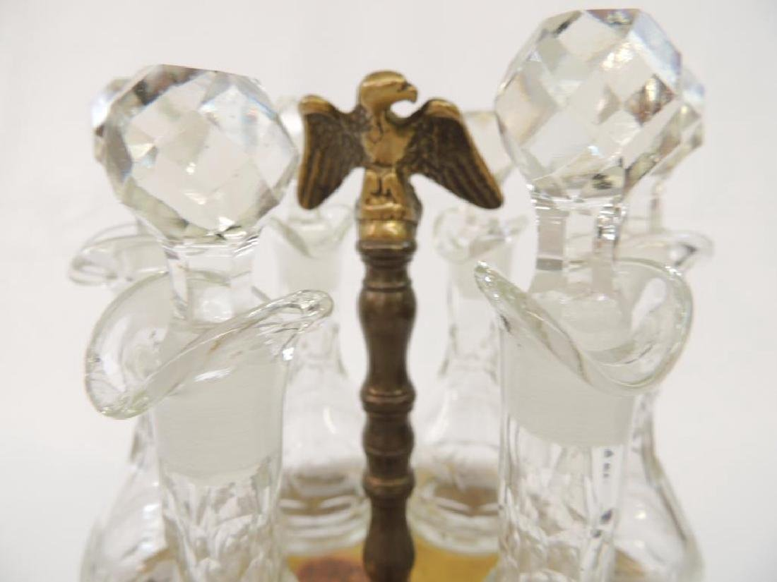 6 Bottle Cut Glass Lazy Susan    Cruet Set with Eagle - 2