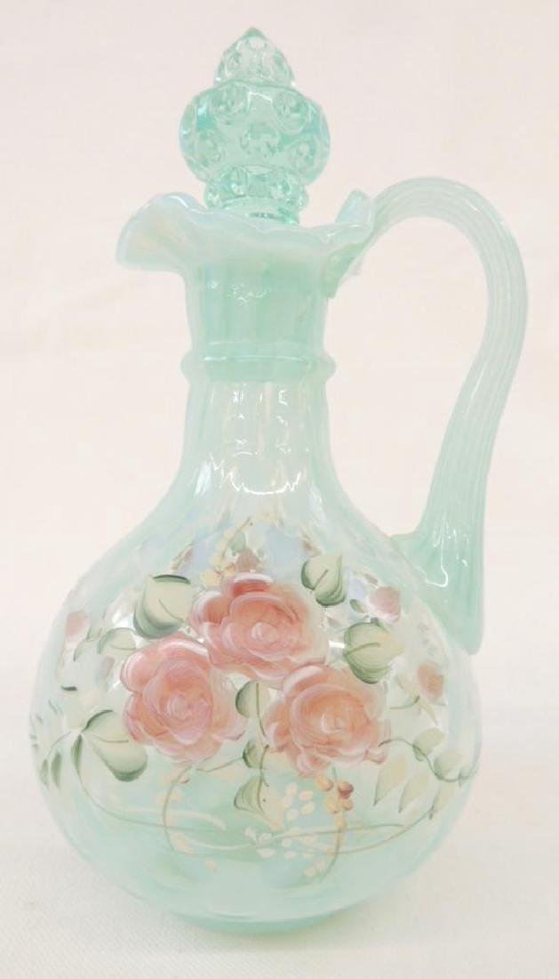 Green Opalescent Fenton Ruffled Edge Handpainted Cruet