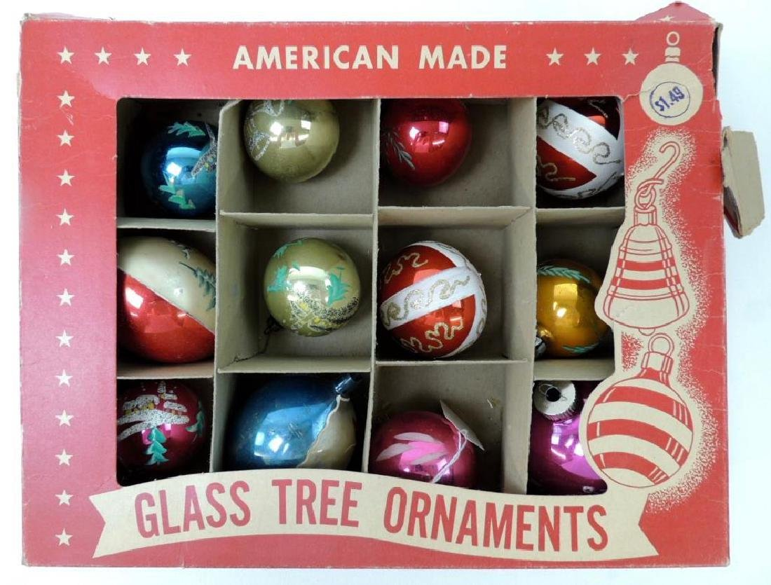12 Vintage Mercury Glass Christmas Ornaments in
