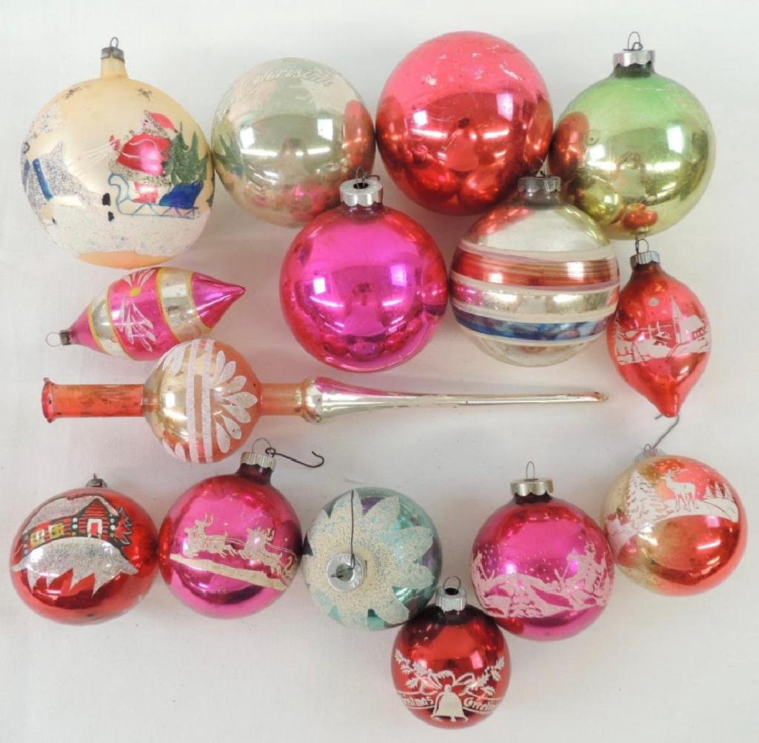 Group of 15 Vintage Mercury Glass Christmas Ornaments