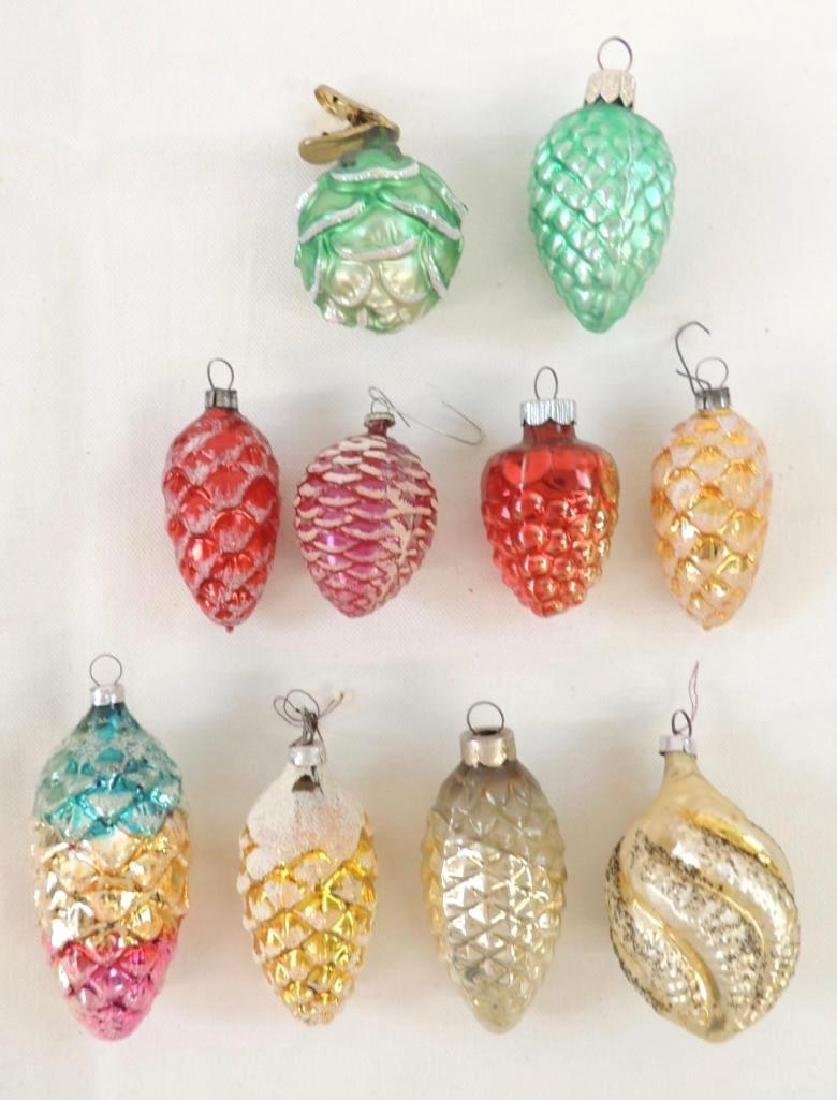 Group of 10 Vintage Figural Mercury Glass Ornaments