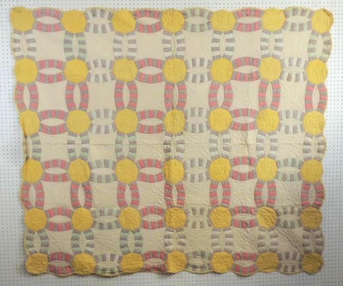 Antique Hand Quilted Wedding Ring Quilt
