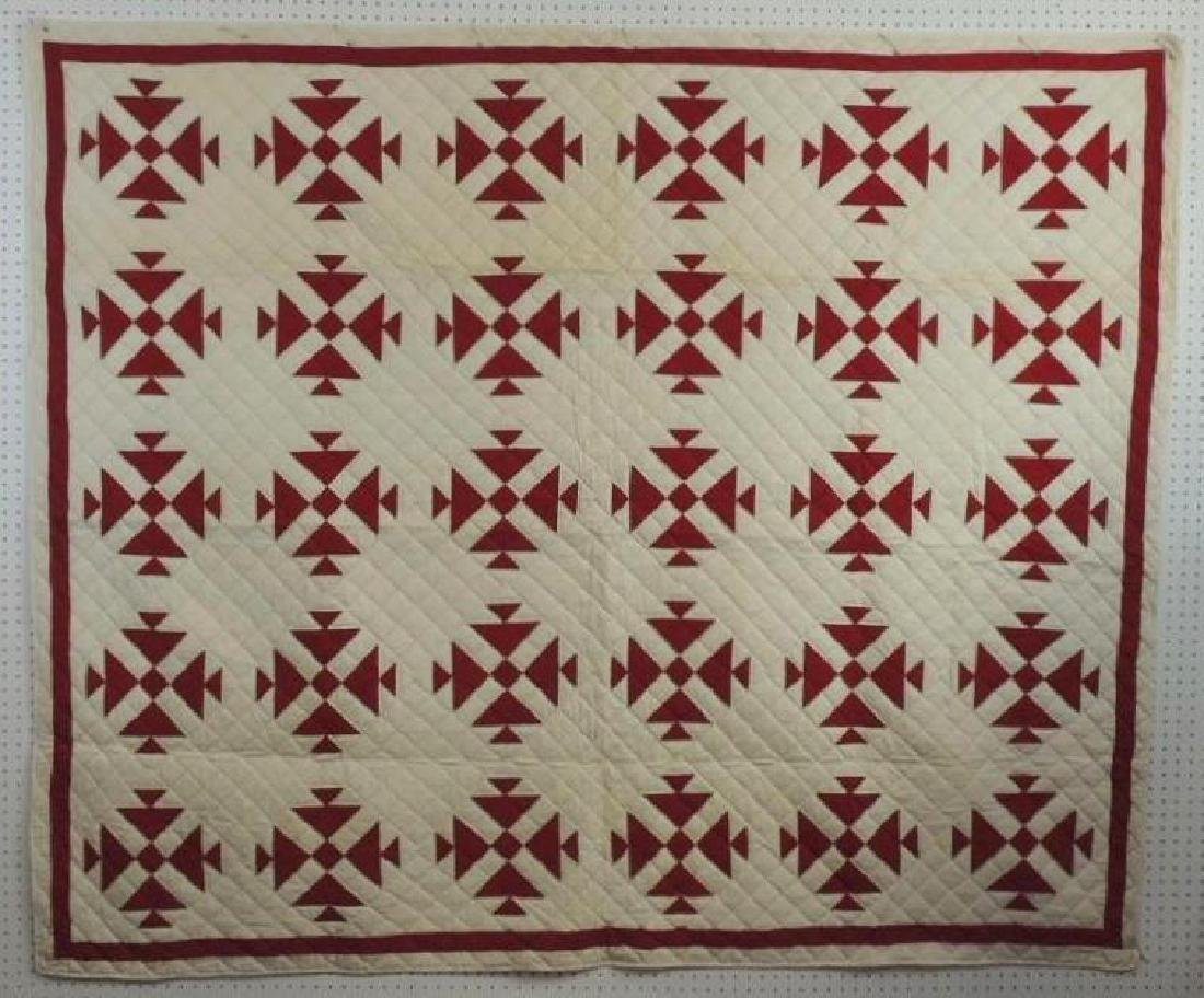 Antique Hand Quilted Red and White Basket Pattern Quilt