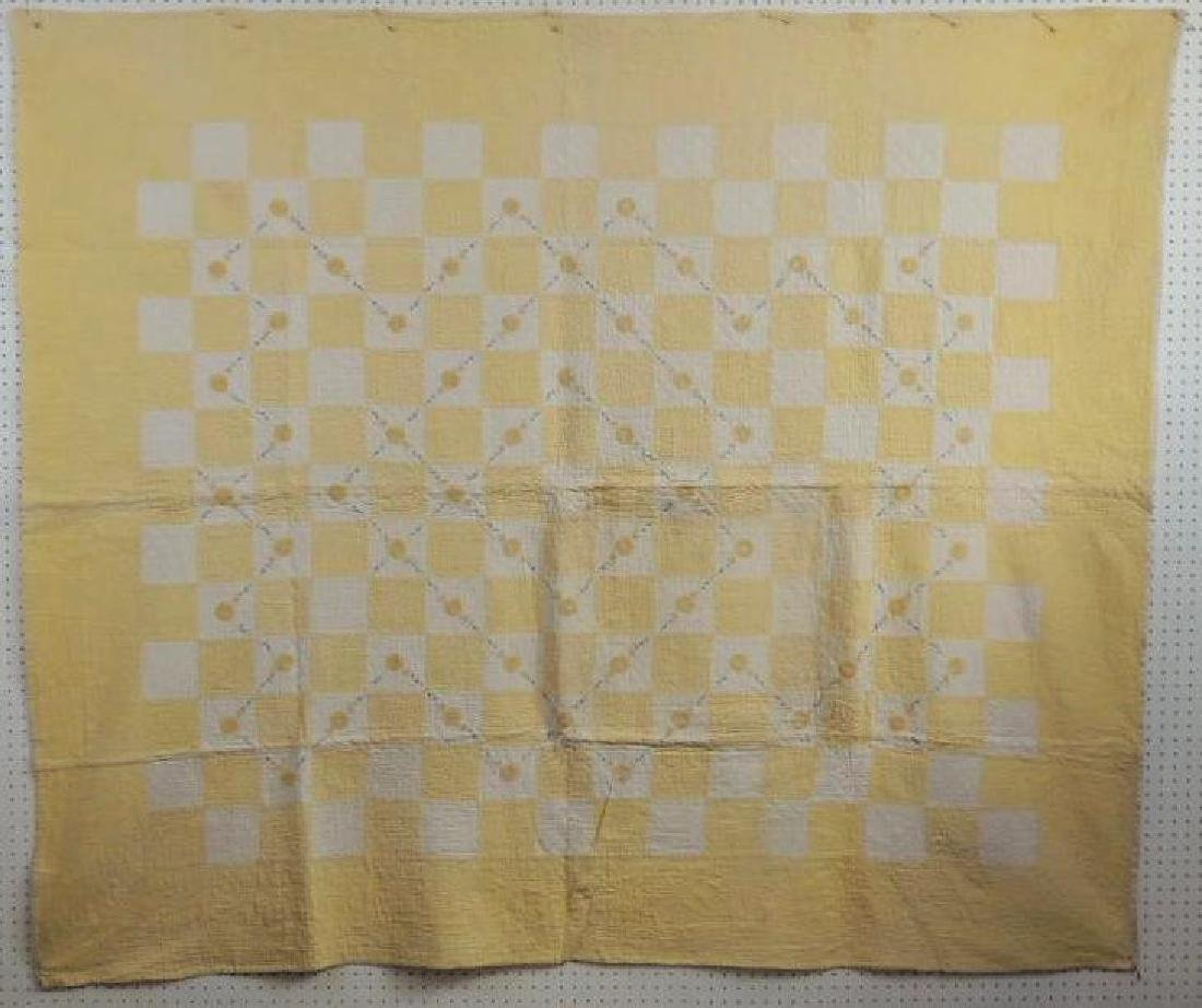 Antique Hand Quilted Yellow Checkerboard Pattern Quilt