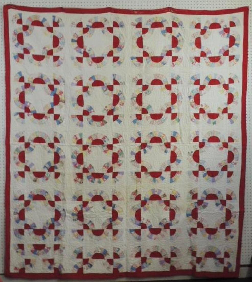 Antique Hand Quilted Multi Color Pattern Quilt