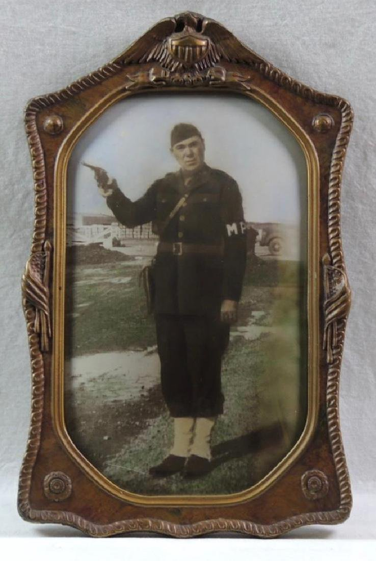 WW1 Photograph Featuring MP Soldier in Convex Gilded