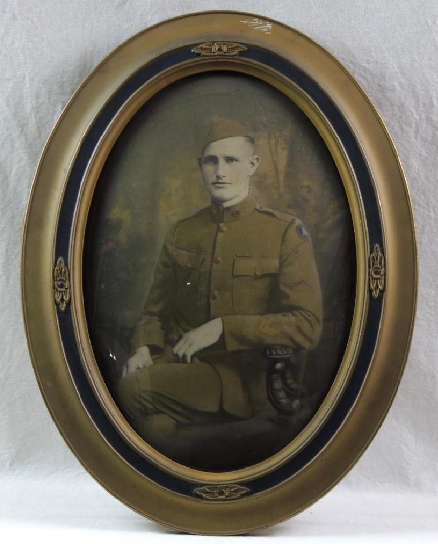WW1 Photograph Featuring Soldier with Convex Gilded