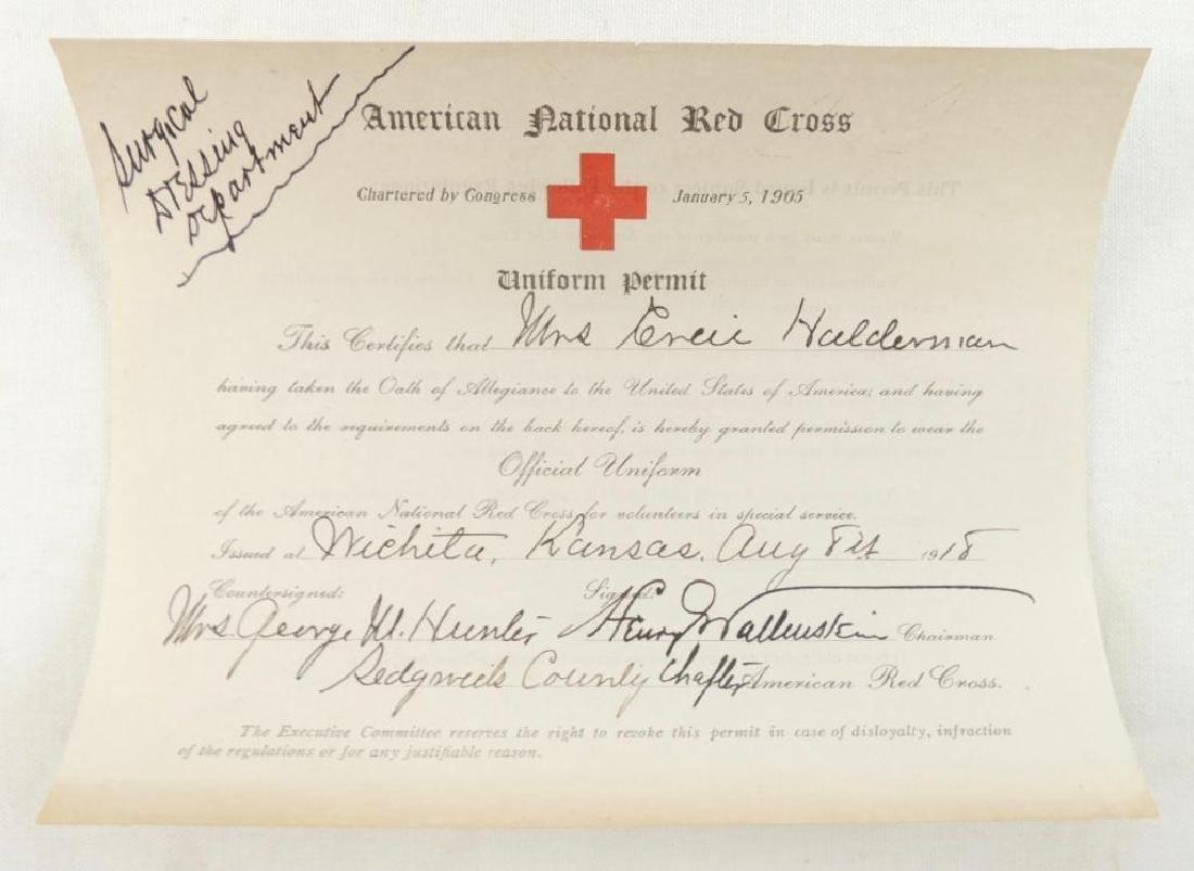 WW1 1918 American Red Cross Official Uniform Permit