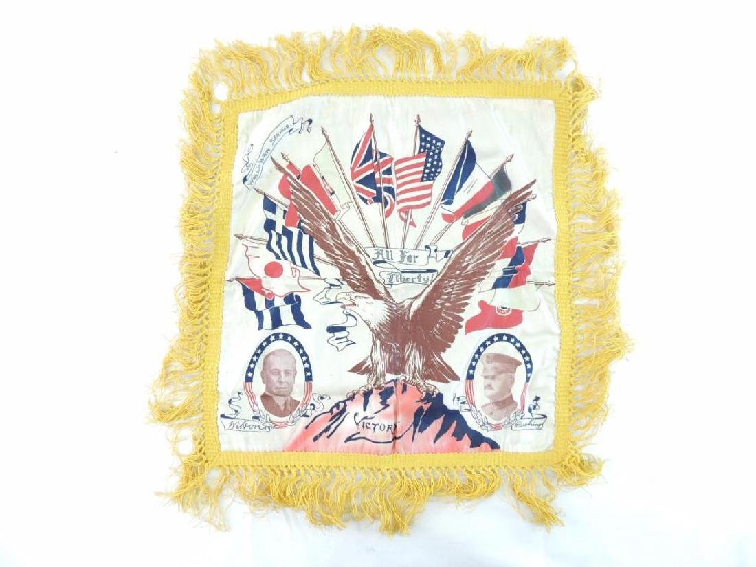 """WW1 U.S. Army """"All for Liberty"""" Silk Pillow Case"""