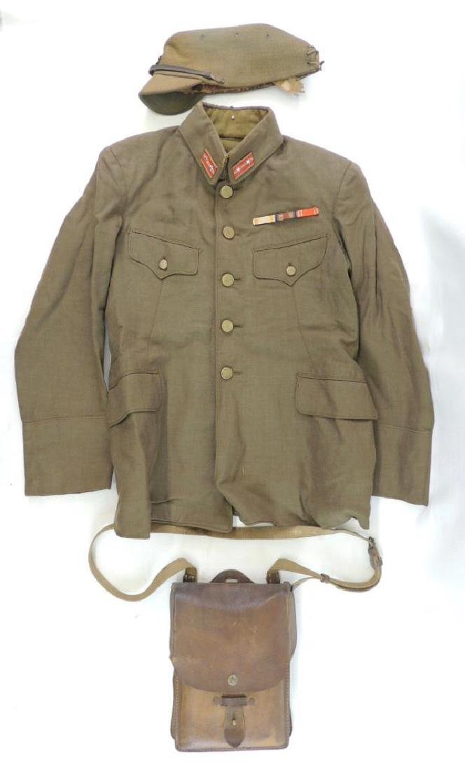 WW2 Japanese Army Uniform with Cap and Map Bag