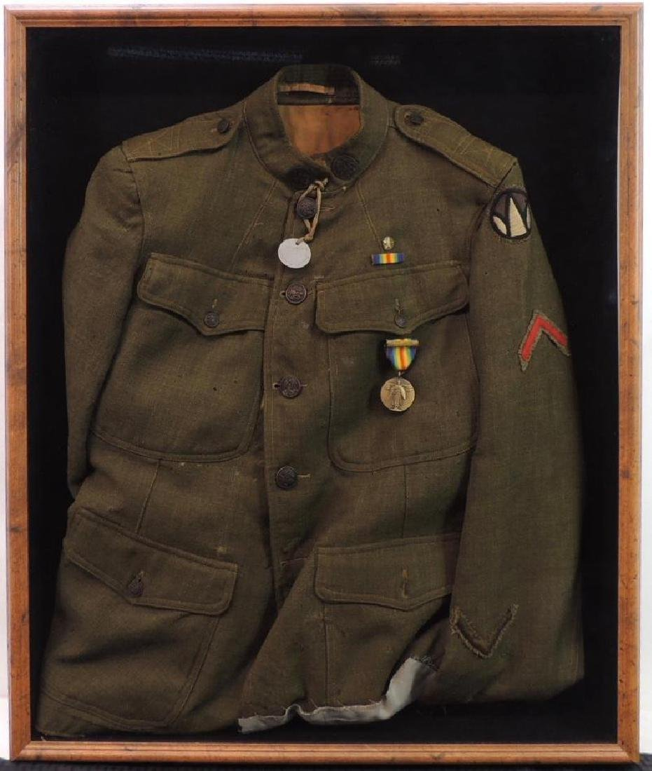 WW1 U.S. National Army 89th Division Named Framed Tunic