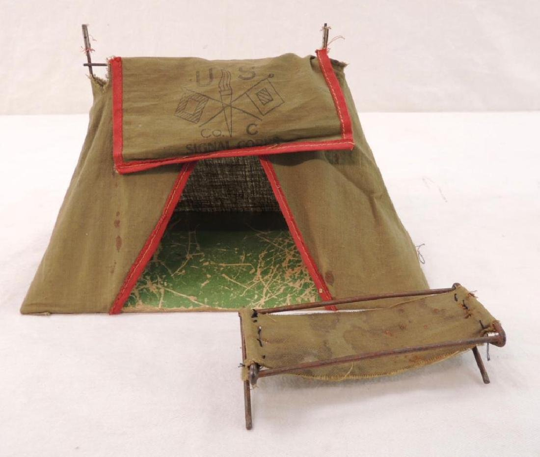 WW1 Era U.S. Signal Corps Miniature Tent and Cot