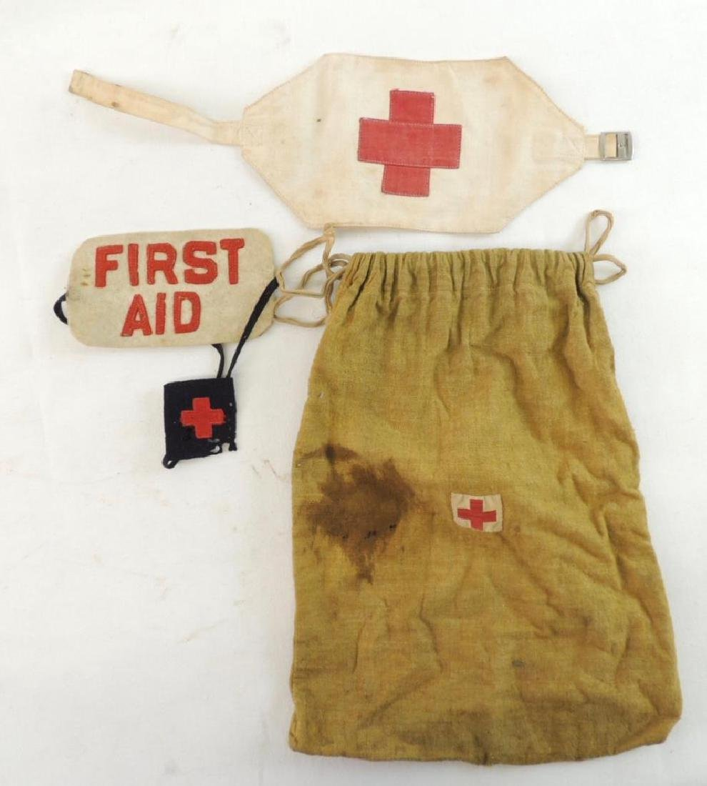 WW1/2 U.S. Red Cross Armband, Patches, and Bag