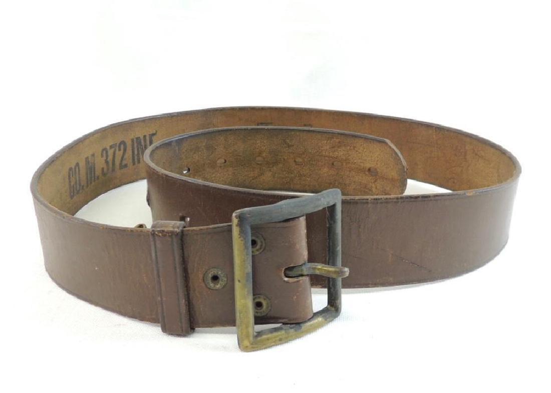 WW1 U.S. Army Co. M 372 Infantry Leather Belt