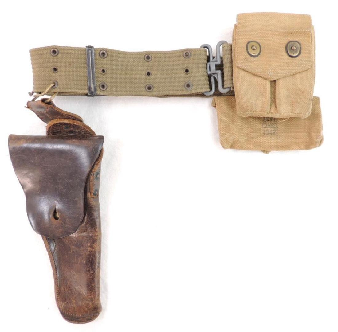 WW2 U.S. Army Ammo Belt with Leather Holster as well as