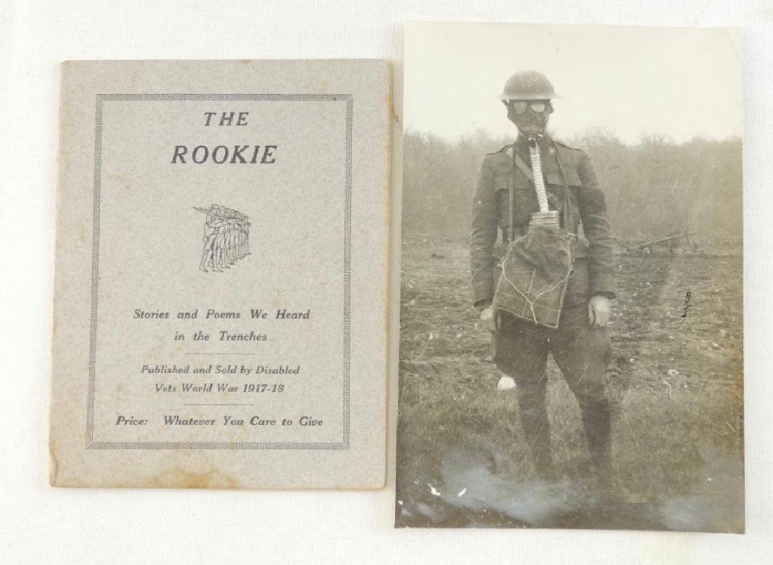 WW1 Photograph Featuring Soldier with Gasmask and Poem