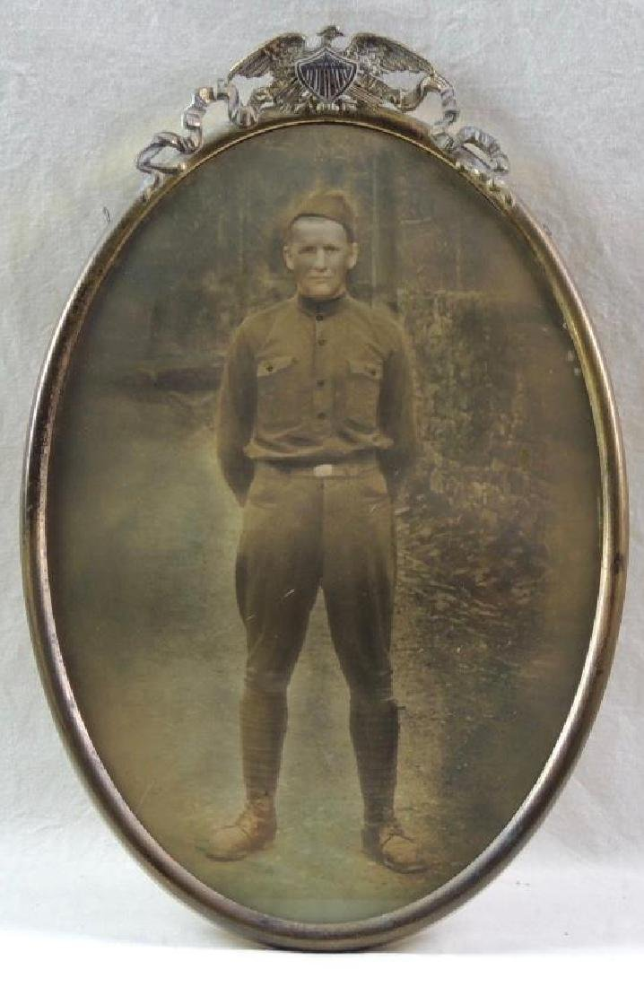 WW1 U.S. Army Photograph Featuring Soldier with Antique