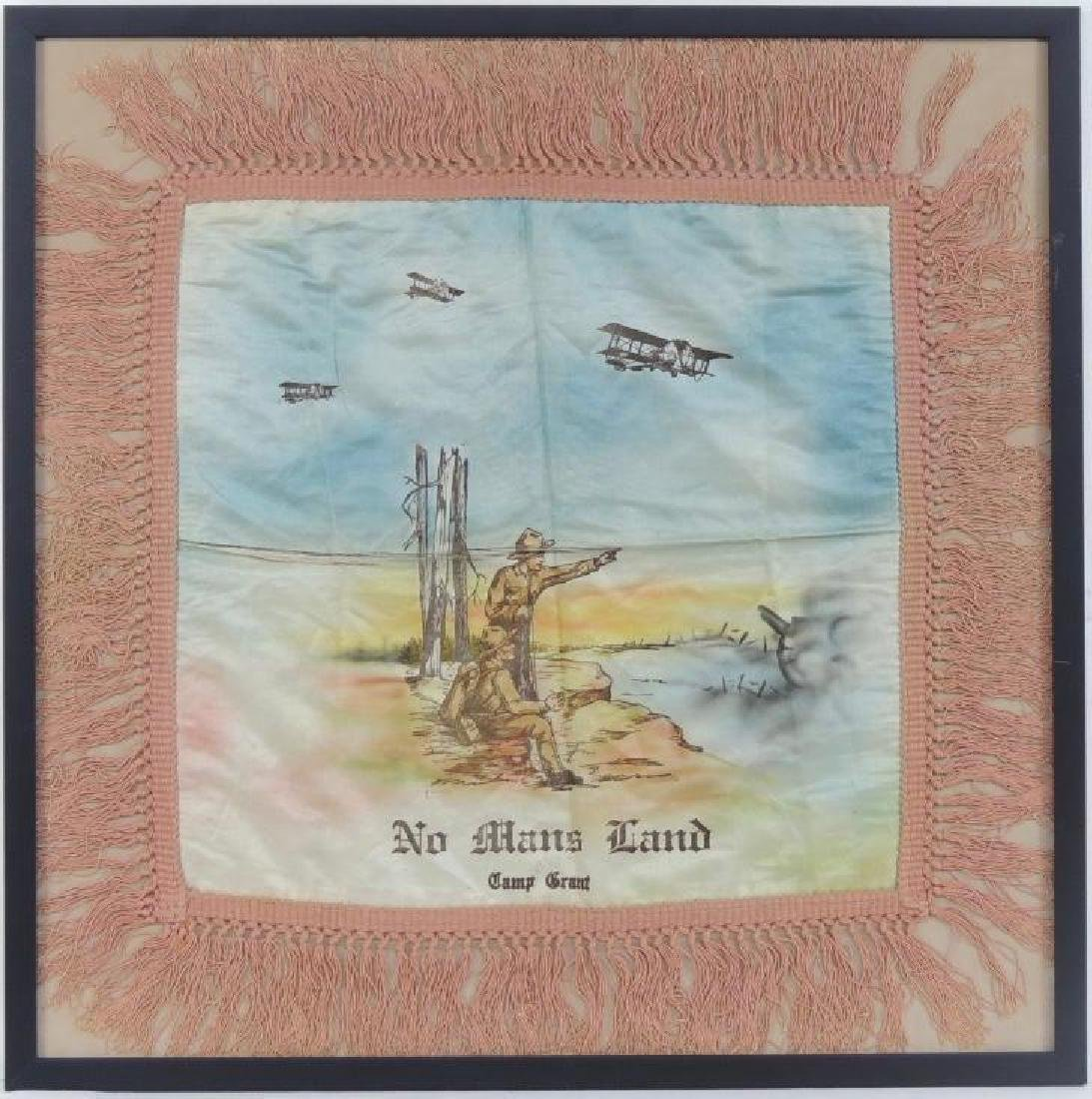 "WW1 ""No Man's Land"" Camp Grant Souvenir Silk Pillow"