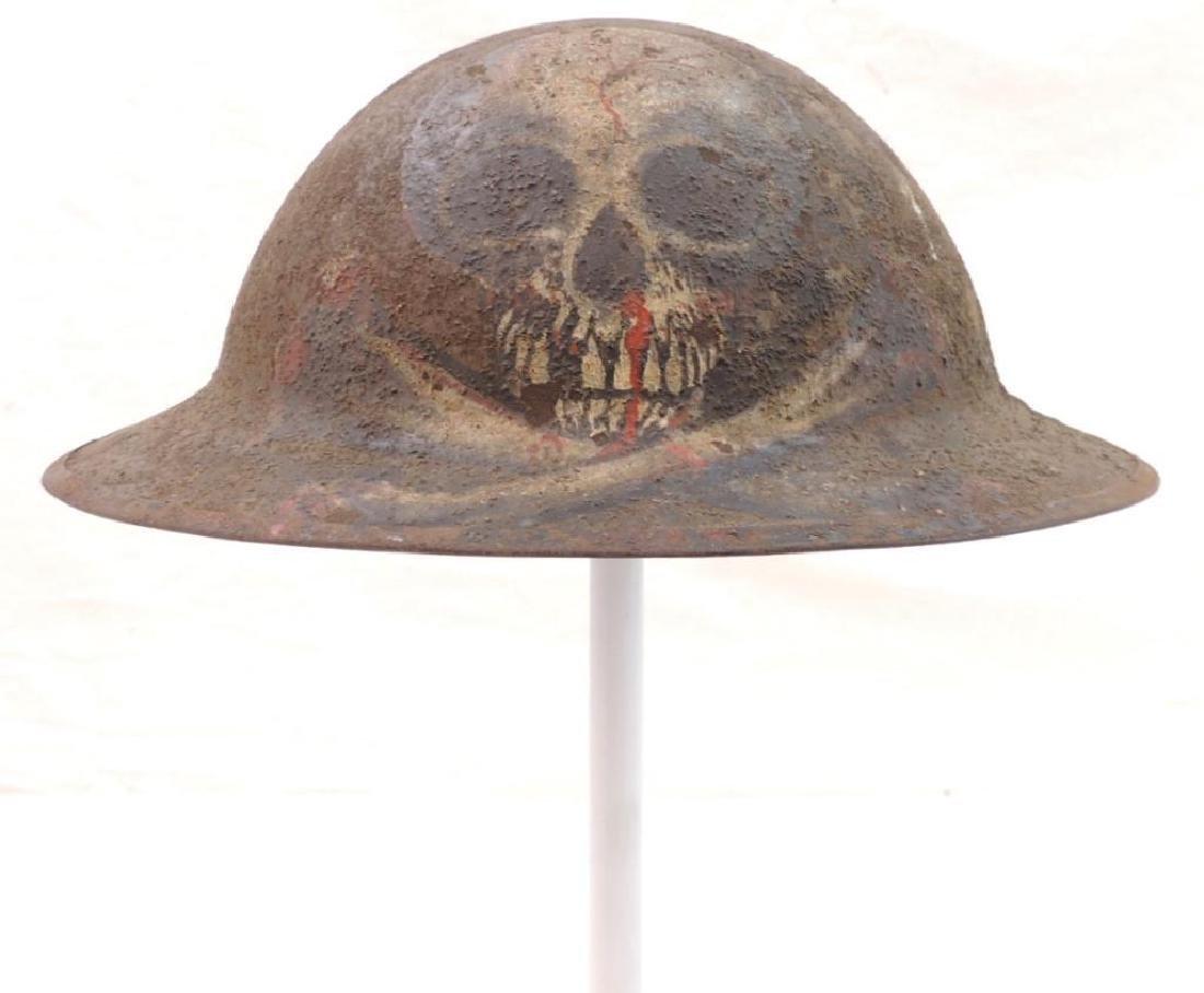 WW1 U.S. Army Doughboy Helmet with Amazing Trench Art