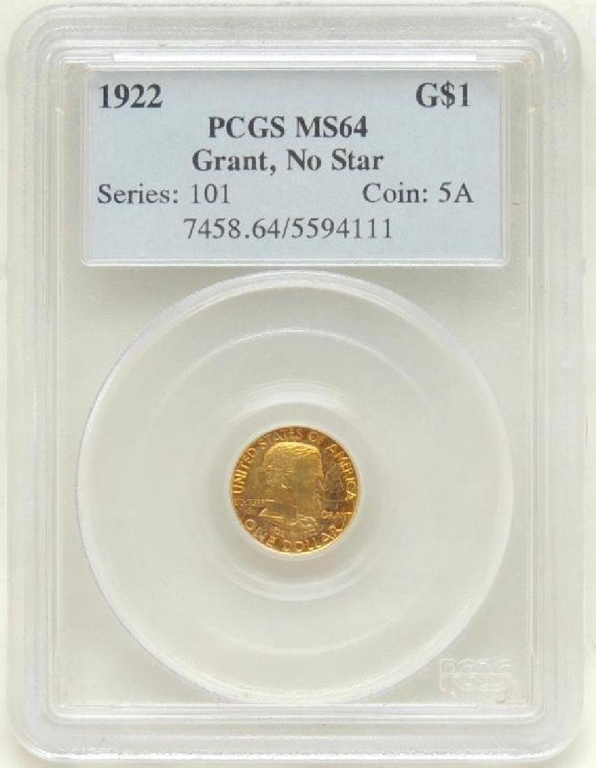 1922 US Grant $1 Gold Piece w/o Star MS64