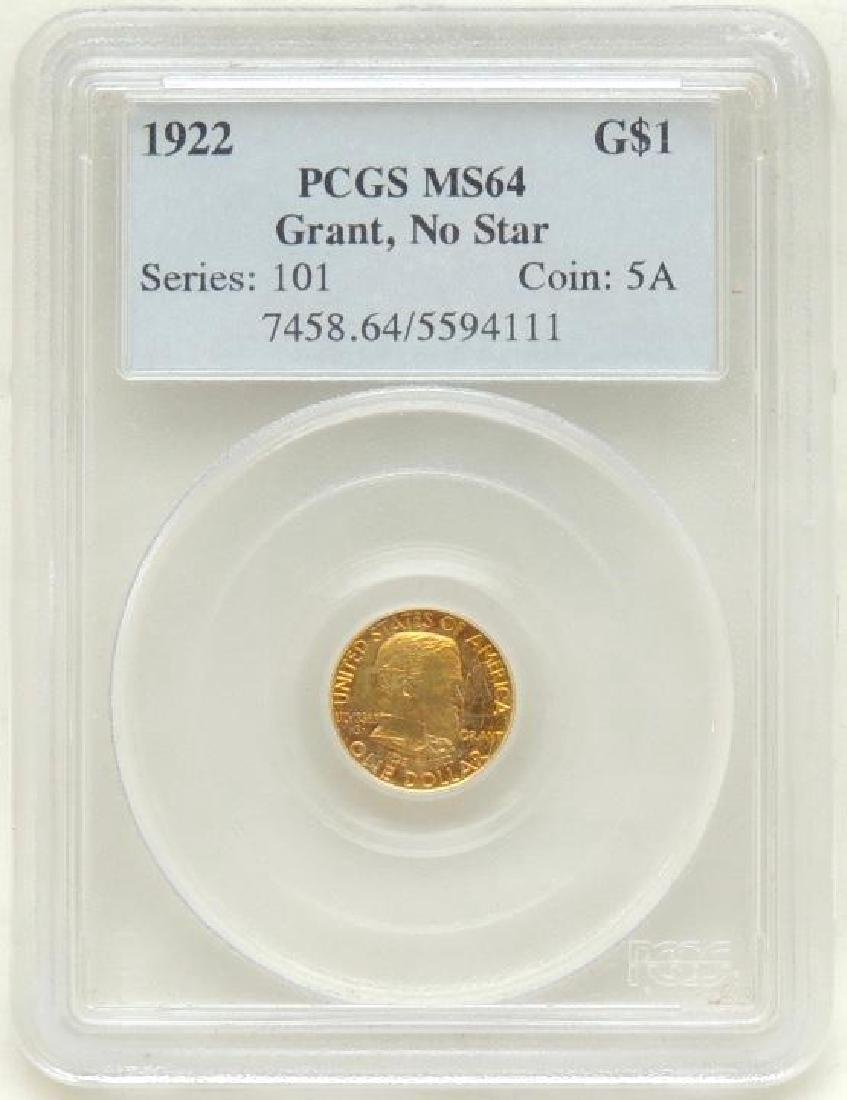 1922 US Grant $1 Gold Piece w/o Star MS64 - 3