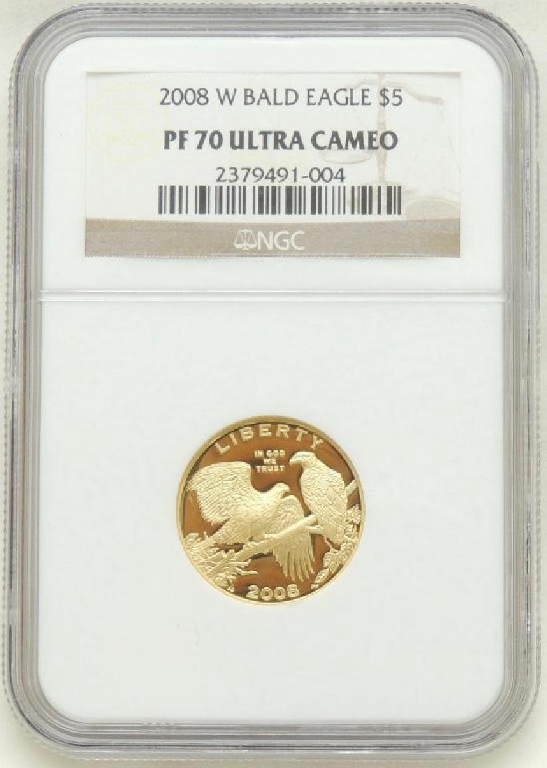 2008-W Bald Eagle $5.00 Gold Piece PF 70 Ultra Cameo